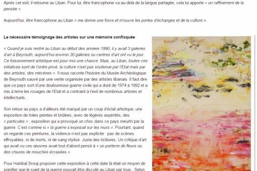 """""""Hanibal Srouji: un artiste contre l'indifférence face à la violence"""", Le Petit Journal  de Singapore, 2017"""
